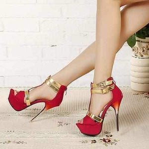 Hot Red Gold Accent Wedding Platform High Heels Red / 8.5 High Heels Edgy Couture