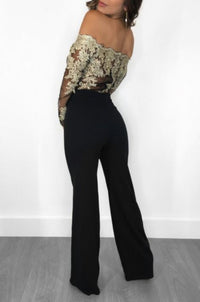 Retro Black Lace Golden Off The Shoulder Long Sleeve Jumpsuit-Jumpsuit-Edgy Couture