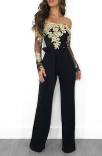Retro Black Lace Golden Off The Shoulder Long Sleeve Jumpsuit-Jumpsuit-Small-Black-Edgy Couture
