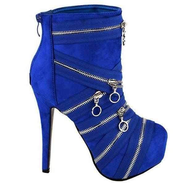 Royal Blue SteamPunk Mummy Suede Platform High Heel Ankle Booties  Ankle Boots Edgy Couture