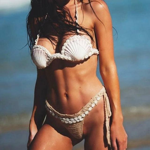 Seductive Nude Handmade Knitted Mera Mermaid Bikini  Bikini Edgy Couture