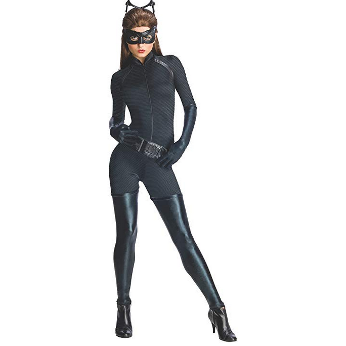 Sexy Black Adult Catwoman Jumpsuit Costume Large / Black / Polyester Costumes Edgy Couture