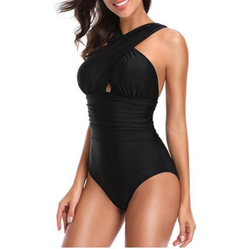 Sexy Black Criss Cross Halter One-Piece Plus Size Swimsuit X-Large / Black One Piece Swimsuit Edgy Couture