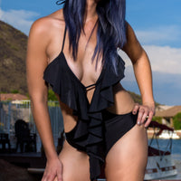 Sexy Black Cut Out Monokini Swimsuit Ruffles