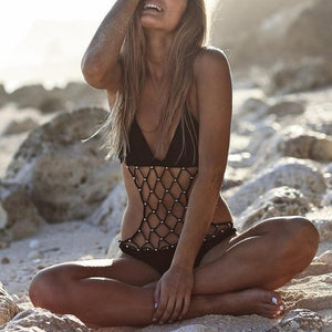 Sexy Black Mesh Vintage BOHO One Piece Monokini Swimwear X-Large / Black Monokini Edgy Couture