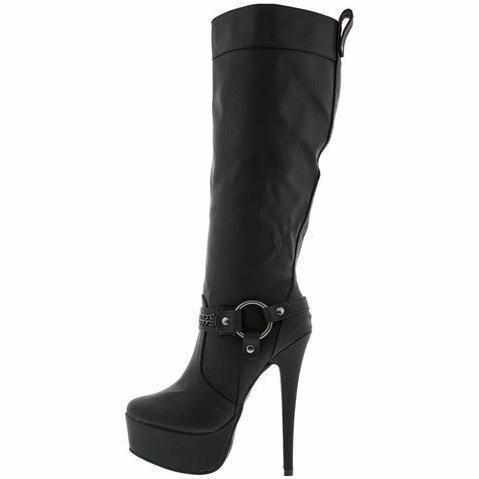 Sexy Black Silver Chain Platform Knee High Dress Boots 10 / Black Boots Edgy Couture