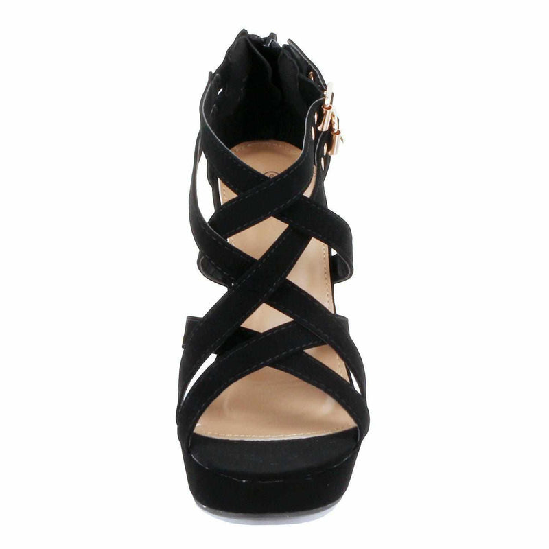 Sexy Black Strap Open Toe Gladiator Low Platform Wedge Summer Sandals  Shoes Edgy Couture