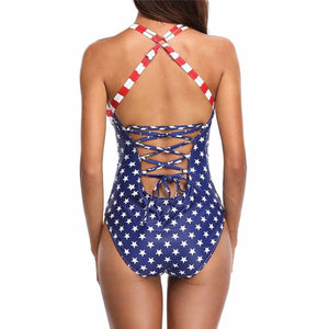 Sexy Blue All American USA Flag Padded One Piece Bathing Suit  MonoKini Edgy Couture