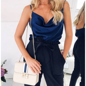 Sexy Blue Sleeveless Chiffon Strappy Tank Top Camisole  Shirts Edgy Couture