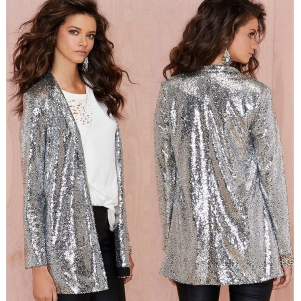 Sexy Business Casual Open Front Silver Sequin Office Blazer X-Large / Silver Jackets Edgy Couture