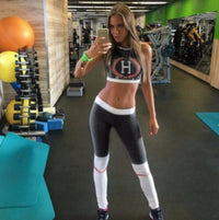 Sexy Grey Two Piece Patchwork Baseball Yoga Pants Sports Bra Set Large / Grey Leggings Edgy Couture