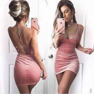 Sexy Pink Velvet Slip Dress Backless Bodycon Cocktail Dress  Bodycon Dress Edgy Couture