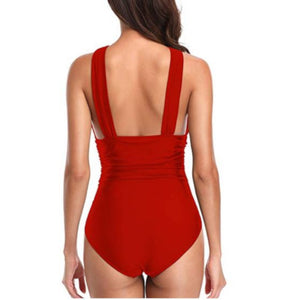 Sexy Red Criss Cross Halter One-Piece Plus Size Swimsuit  One Piece Swimsuit Edgy Couture