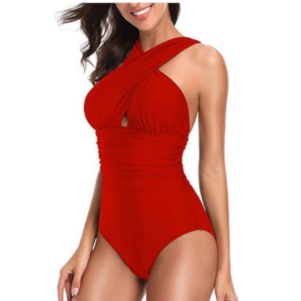 Sexy Red Criss Cross Halter One-Piece Plus Size Swimsuit X-Large / Red One Piece Swimsuit Edgy Couture