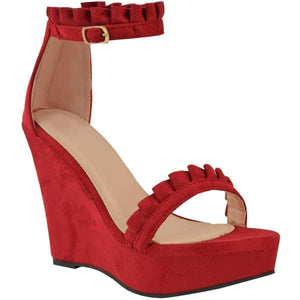 Sexy Red Faux Suede Ruffled High Heel Platform Wedge Wedding Sandals 10 / Red Wedges Edgy Couture