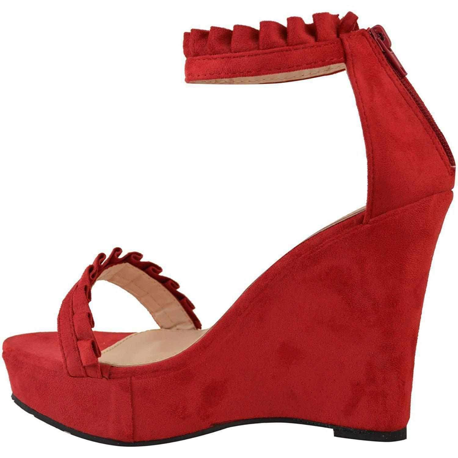 e7a9724d6b9a Sexy Red Faux Suede Ruffled High Heel Platform Wedge Wedding Sandals Wedges  Edgy Couture