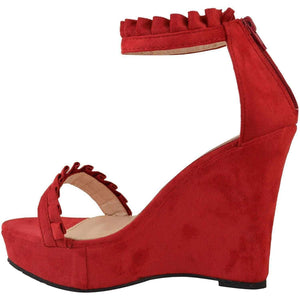 Sexy Red Faux Suede Ruffled High Heel Platform Wedge Wedding Sandals  Wedges Edgy Couture