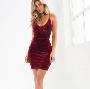 Sexy Red Velvet Criss Cross Backless Bodycon Dress