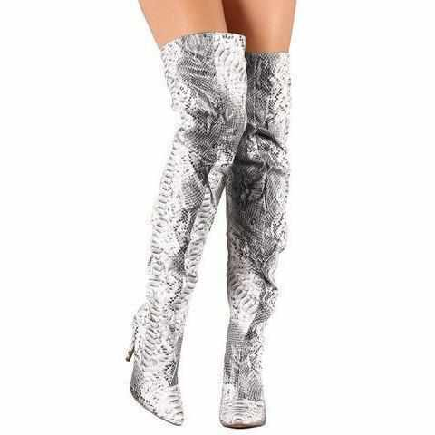 Sexy Silver Metallic Snake Thigh High Dress Boots  Boots Edgy Couture