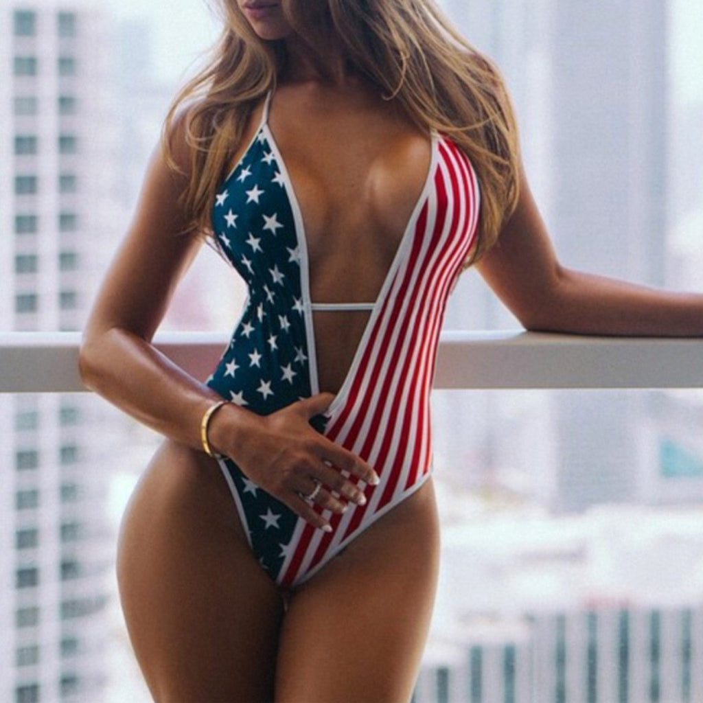 Sexy Stars and Stripes Backless Monokini Swimsuit