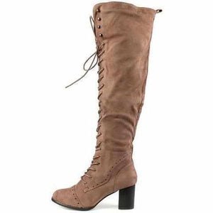 Sexy Taupe Lace Up Knee High Faux Suede Dress Boots 8 / Taupe Boots Edgy Couture