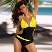 Sexy Vintage Black & Gold Retro Triangle Top Monokini Swimsuit