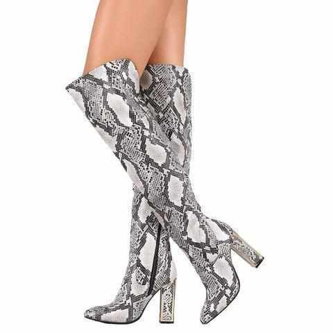 Sexy White & Black Illusion Snake Over The Knee Dress Boots 9 / Snake Thigh High Boots Edgy Couture
