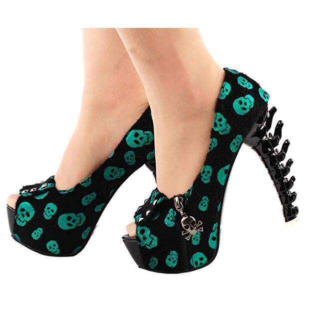 Womens Green Skull Studded Cross bone High Heels 10 / Green / PU Pumps Edgy Couture