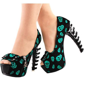 Womens Green Skull Studded Cross bone High Heels  Pumps Edgy Couture