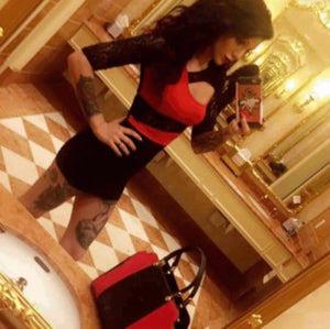 Steampunk Black Lace Qtr Sleeve Sexy Red Party Bodycon Dress  Bodycon Dress Edgy Couture