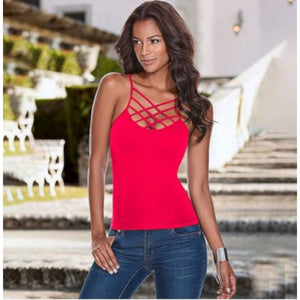 Summer Red CrissCross Casual Sleeveless Spaghetti Strap Tank Top X-Large / Red Tank Tops Edgy Couture