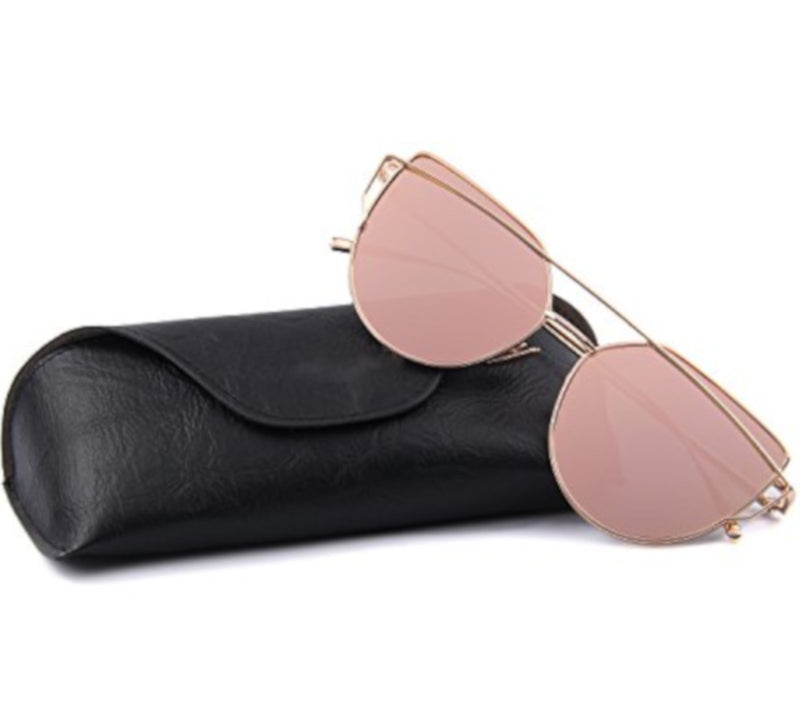 Retro Cat Eye Pink Mirrored Sunglasses For Women