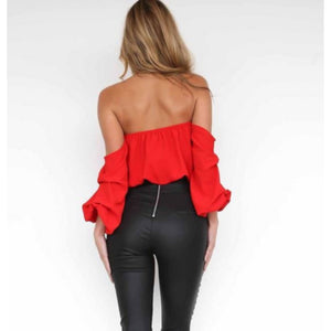 Trendy Red Off The Shoulder Flowy Summer Crop Top W/ Ruffles  Crop Tops Edgy Couture