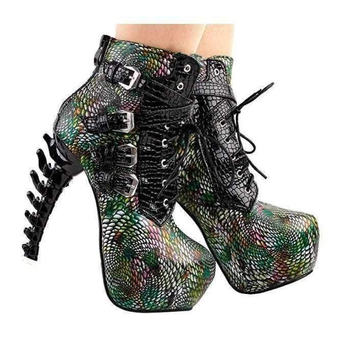 Green Hulk SteamPunk Snake Skin PU Platform High Heel Ankle Boots 10 / Green / PU Ankle Boots Edgy Couture