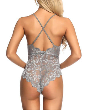 Vintage Backless Strappy Grey Lace Intimate Lingerie Teddy-Bodysuit-Edgy Couture