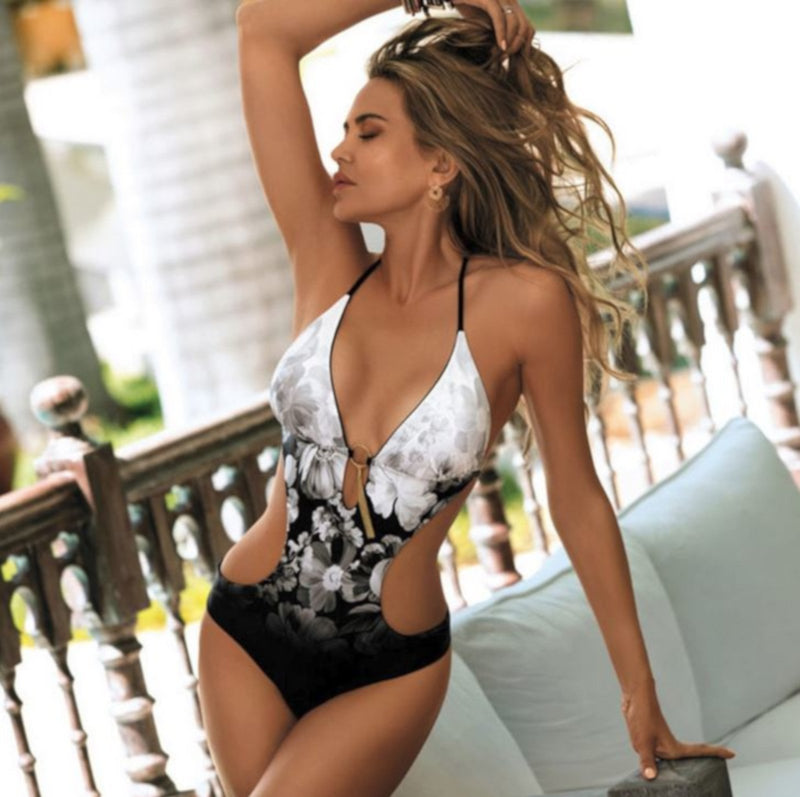 Vintage Triangle Top Ombre Backless Monokini