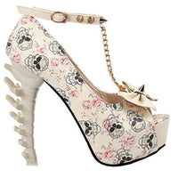 Women's White Skull & Bones Ankle Leash Stilettos 10 / Blue / PU Pumps Edgy Couture