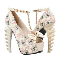 Women's White Skull & Bones Ankle Leash Stilettos  Pumps Edgy Couture