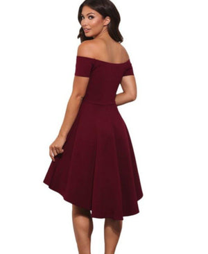 Vintage Wine Red Off The Shoulder NYE High Low Cocktail Dress  Skater Dress Edgy Couture