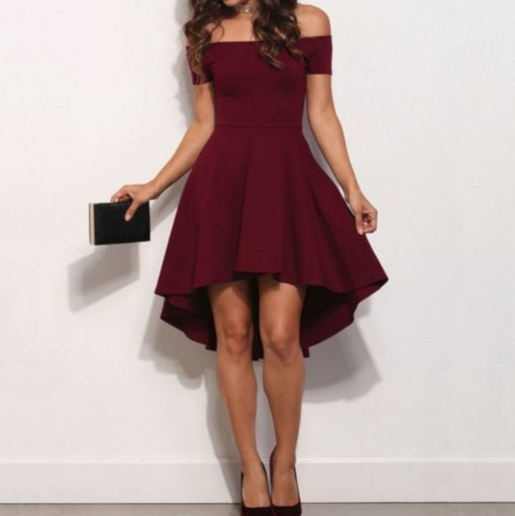 Vintage Wine Red Off The Shoulder NYE High Low Cocktail Dress XXL / Red Skater Dress Edgy Couture