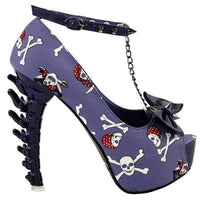 Women's Blue Skull & Bones Ankle Leash Stilettos  Pumps Edgy Couture