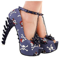 Women's Blue Skull & Bones Ankle Leash Stilettos 10 / Blue / PU Pumps Edgy Couture