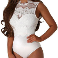 Vintage White Lace Sleeveless Wedding Bodysuit Teddy