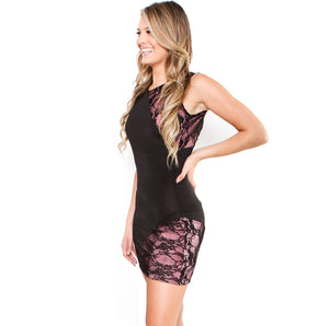 Formal Pink Lace Two Tone Sleeveless Black Cocktail Dress