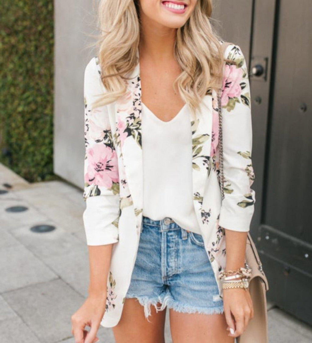 White Business Casual Open Front Floral Office Blazer Jacket X-Large / White Blazers Edgy Couture