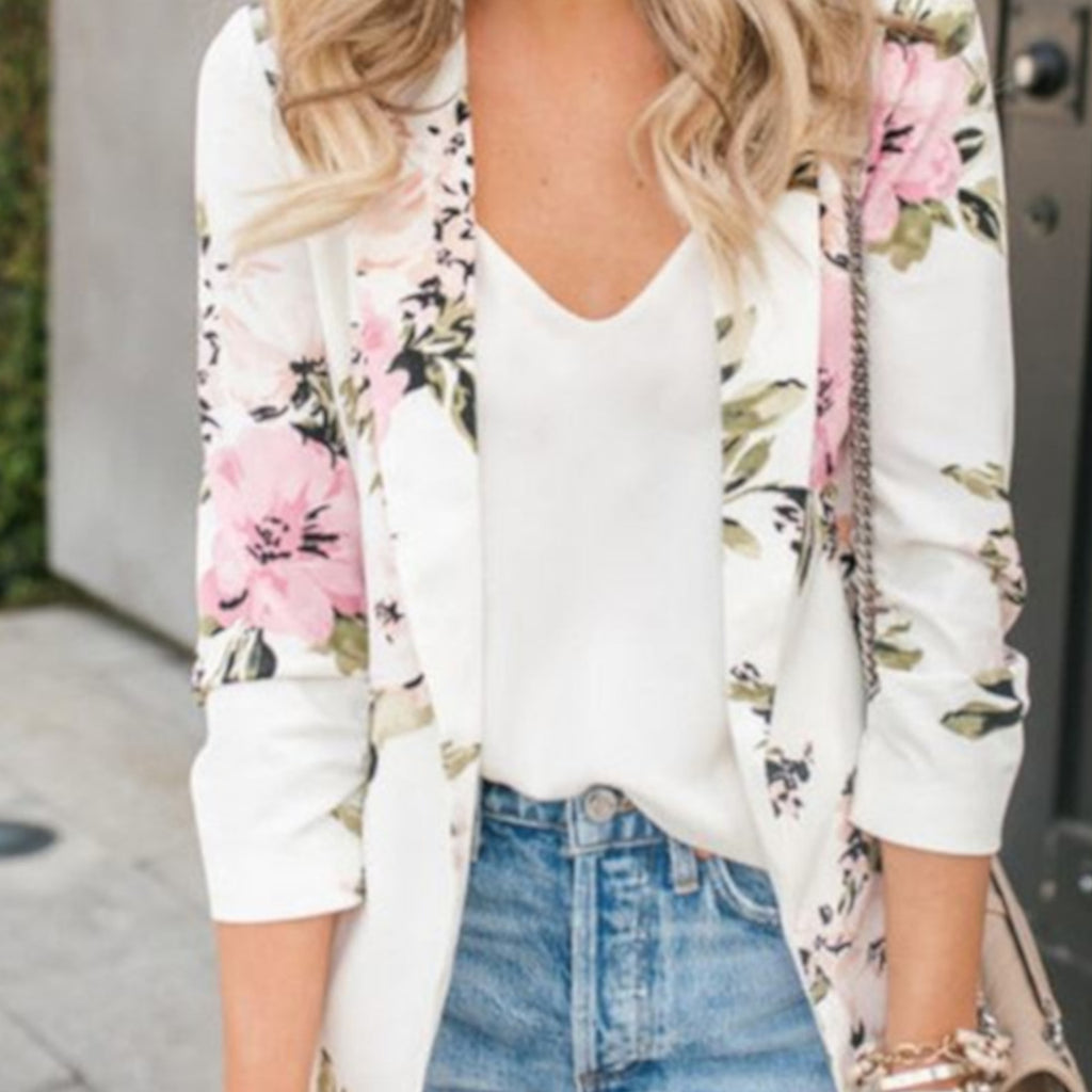 White Business Casual Open Front Floral Office Blazer Jacket