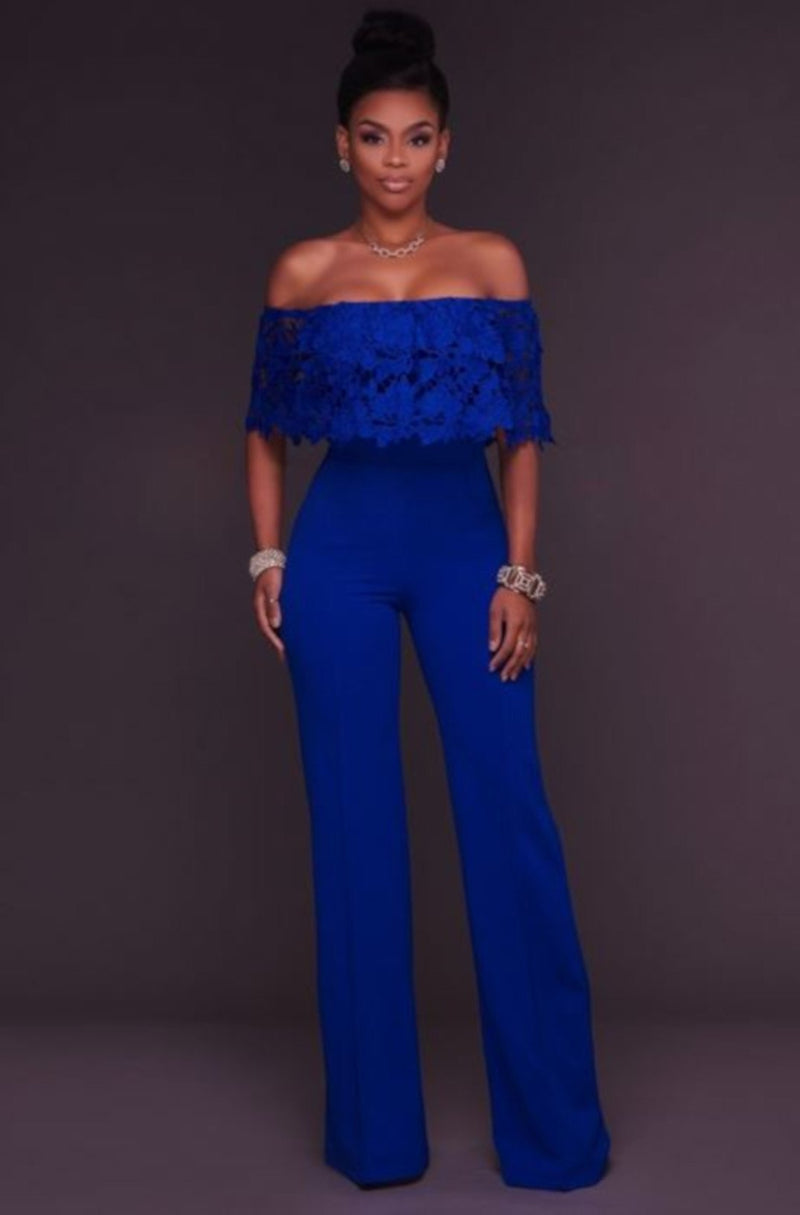 Women Blue Lace Ruffles Off Shoulder BusinessSuit Jumpsuit-Jumpsuit-Small-Blue-Edgy Couture