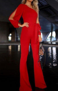 Women Red Wide Leg Hipster Business Suit Jumpsuit-Jumpsuit-Small-Red-Edgy Couture