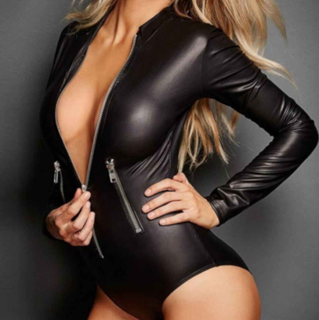 Womens Alternative Long Sleeve Black Faux Leather Bodysuit