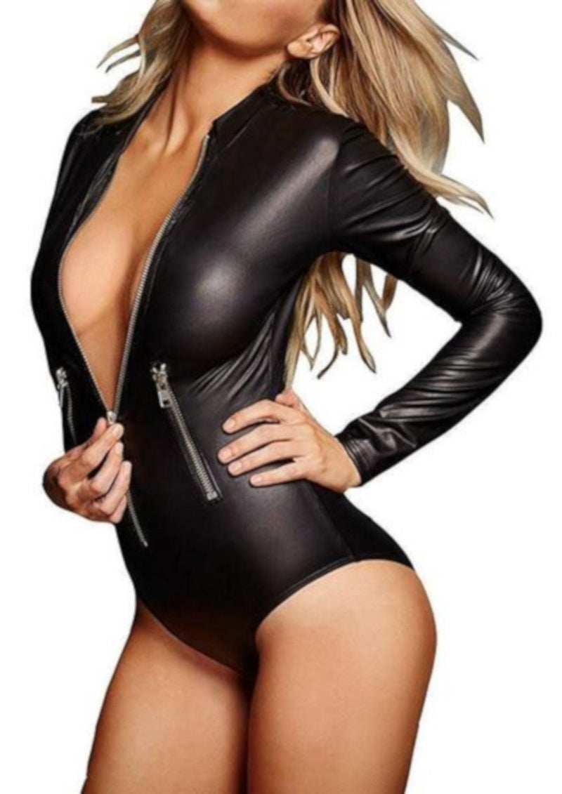 Womens Alternative Long Sleeve Black Faux Leather Bodysuit-Bodysuit-Black-Small-Edgy Couture